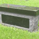 "G3-26-109 Jet black bench seat w/cremation holes in pedestal 30"" x 9"" polished panel"