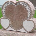 "Stock #40 hearts monument 36"" x 8"" x 28"" base 36"" x 14"" x 8"""