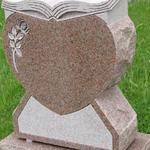 "Stock #82 heart with book monument 20"" x 8"" x 26"" base 24"" x 12"" x 8"""