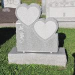 "Stock #101 hearts monument 26"" x 8"" x 30"" base 36"" x 14"" x 8"""